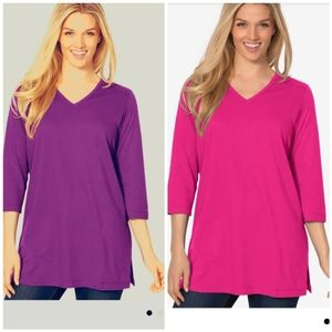 Woman Within Lot of 2 V neck Tunic 3/4 sleeve